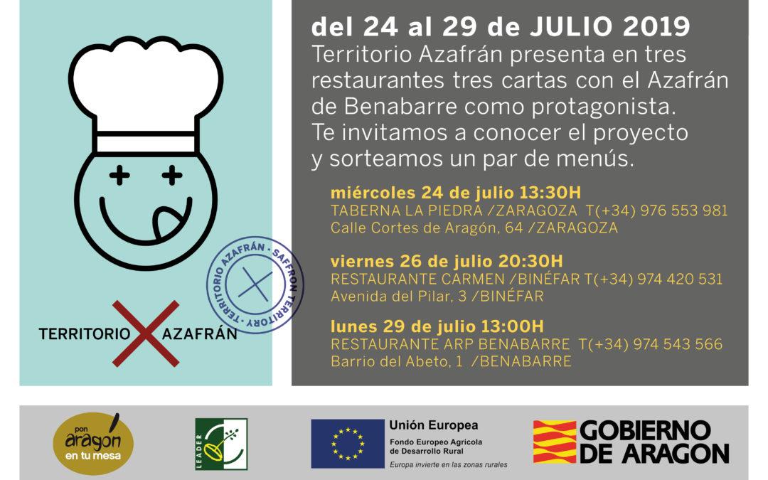 Presentaciones de los menús Territorio Azafrán en restaurantes