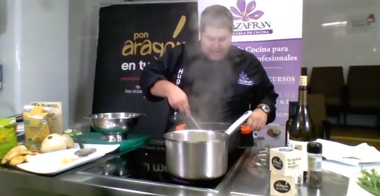 Borraja, patata y jamón al toffee de ajo