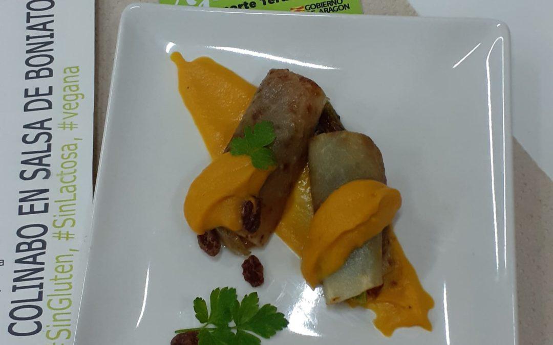 Canelones de colinabo en salsa de boniato