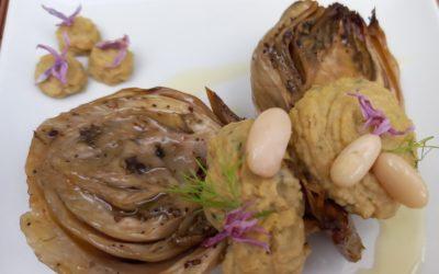 Finollo relleno de humus de judía