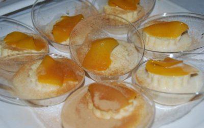 Crema de arroz de las Cinco Villas con leche con Semifrío de Melocotón de Calanda