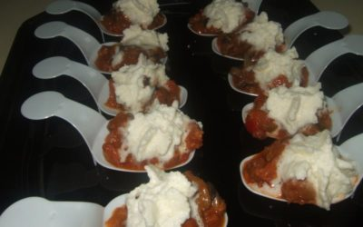 Caracoles con longaniza de Erla y espuma de queso Dos Arbas