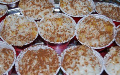 Arroz cremoso con melocotón de Calanda y miel de encina de Apícola 5 Villas