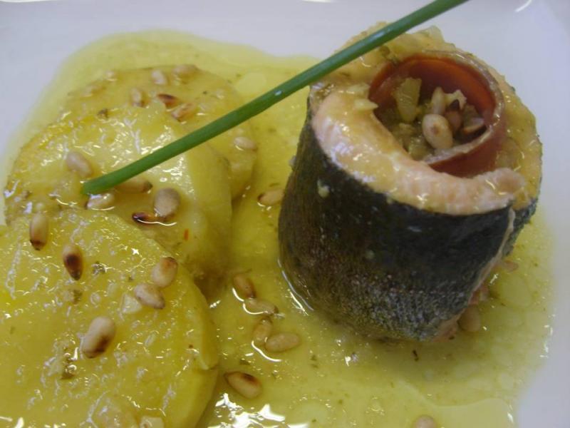 Trucha del Cinca con Jamón de Teruel y Suquet de Patatas de Montaña